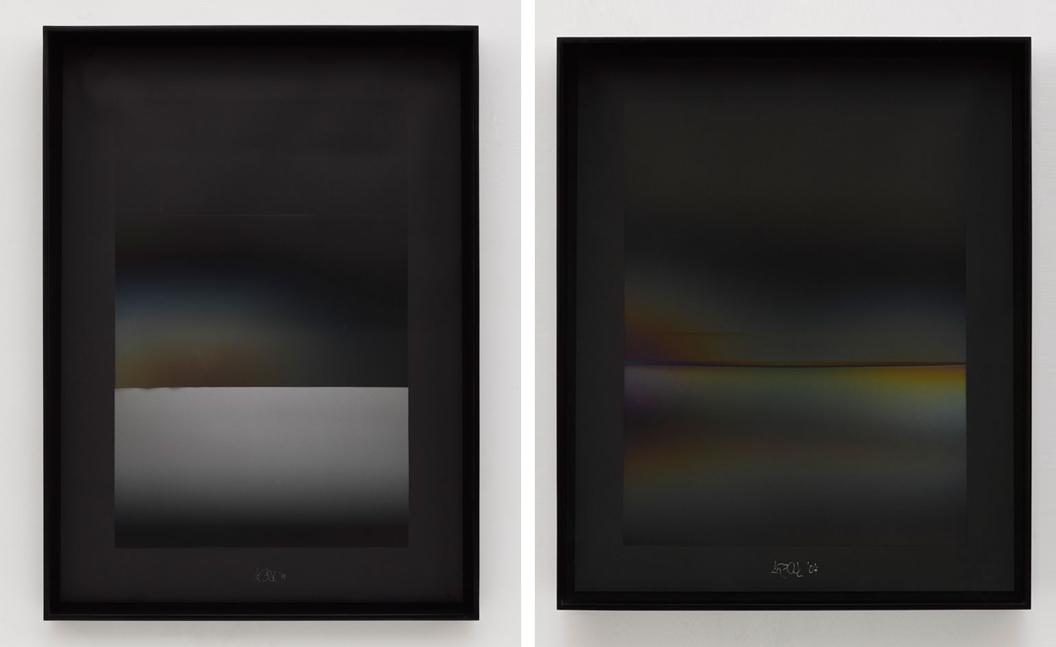 Larry Bell: NVD#24 (left) and NVD#28 (right), both 2004, (Black Arches Paper coated with aluminum and silicon monoxide, 57 x 41 in.). Photography by White Cube (George Darrel)