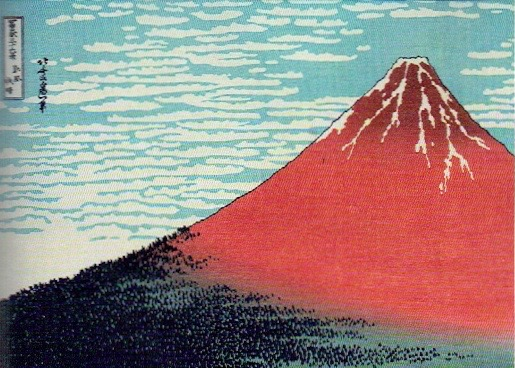 Katshushika Hokusai, South Wind, Clear Sky, from series 36 Views of Fuji, c.1830-32, coloured woodblock print. (Lewis Collection, Blackburn Museum and Art Gallery)